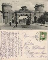 Ingolstadt Brücke am Donau Tor, Strassen Partie belebt 1909/1907
