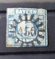 """Bayern 6 Kreuzer blau Mi.-Nr. 10, gMR 456 """"Scheßlitz (Oberfranken)"""