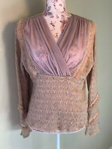 Gorgeous! NWT Pretty Angel Sweater V-neck L/S Bell Mohair Pullover Dusty Rose L