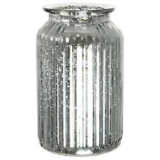 Splatter Silver Ribbed Vase Jar Home Decoration Decor Ornament