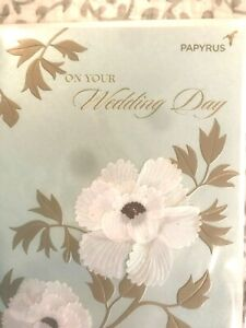Fabulous Papyrus Wedding Card:  3D White Camellias with Gold Embossing & Glitter