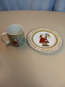 "New Debbie Mumm Stoneware ""Joy to the World"" Christmas  Plate and Mug Pair"