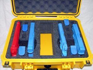 Yellow Pelican 1450 with custom 4 pistol handgun foam gun Travel case nameplate