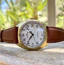 SERVICED Vintage Bucherer Automatic Watch 34mm ETA 2783 Railroad Dial Gold Plate