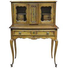 Fantastic Carved Walnut French Louis XV Writing Desk W Brass Wire Doors & Tray