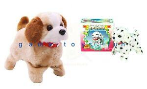 New Toy Dog Barking Jump Flip Sit Walks New Beige or White with Black Dots UK