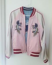 TOPSHOP EMBROIDERED TIGER DOUBLE SIDED Pink And Blue BOMBER JACKET SIZE 8