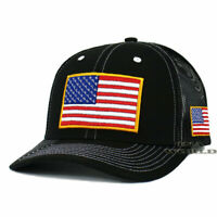 USA AMERICAN Flag Hat Tactical Military Cap Mesh Snapback Baseball Cap- Black