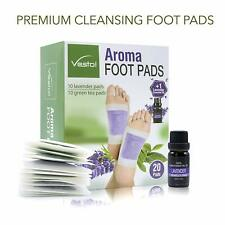 20 Piece Aroma Foot Pads Herbal Cleansing Relief with 1 Bottle Lavender Oil
