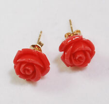 Wholesale 11Colors 12mm Sea Coral Hand Carved Flower Stud Earrings AAA Grade