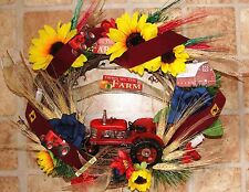 "Country Door Antique Farm Tractor Memorial Wreath Sunflower Earth Tone Color 18"""