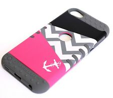 iPod Touch 5th & 6th Gen - HARD&SOFT RUBBER ARMOR CASE PINK GREY ANCHOR CHEVRON