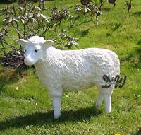 SCHAF KOPF zur SEITE stehend weiß PATINA 75 cm Garten Deko Tier Figur Skulptur