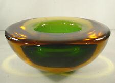 Murano Schale / Überfangglas ,Grün,Bernsteinfarben / Design Flavio Poli ?