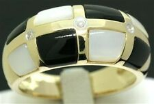 Onyx, Mother of Pearl, Diamond 9ct Solid Gold Ring - Sz N/7.0 - 30 Day Returns