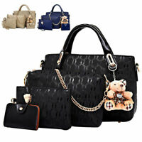 4pcs/set Women New Handbag Crossbody Fashion Lady Bag with Bear Pendant