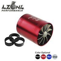 F1-Z Double Turbine Turbo Charger Air Intake Gas Fuel Saver Fan Supercharger RED