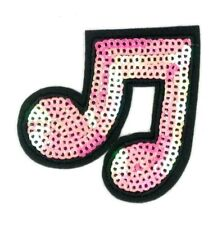 us seller Note Music  Sequins pink Patch Iron or Sew On Embroidered 1601