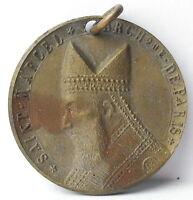 Medalla colgante San Marcel Archveque de Paris c1920 AJ Corbierre 22mm Medal