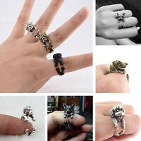 Fashion Vintage Animal Ring Retro Bronze Bulldog Teddy Puppy Wrap Rings Jewelry