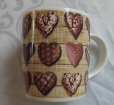 Burgundy Pink Hearts LOVE Fabric effect Shabby Chic Pottery Mug - Brand New