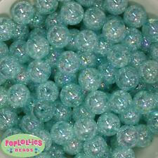 16mm Mint Acrylic Crackle Bubblegum Beads Lot 20 pc.chunky gumball