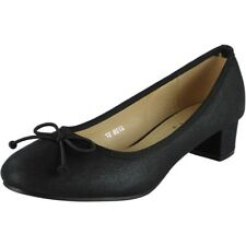 Womens Ladies Low Mid Heel Bow Comfy Office Work Casual Court Shoes Size UK 6 / EU 39 / US 8 Black