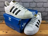 ADIDAS MENS UK 7 EU 40 2/3 SUPERSTAR WOVEN LEATHER WHITE BLACK *RARE* TRAINERS C