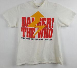 THE WHO KIDS ARE ALRIGHT TOUR 1989 VTG CONCERT WHITE DANGER SIGN T-SHIRT LARGE