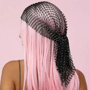 Rhinestone Headpiece Head Scarf Women Hollow Bling Crystal Headband Black Hair