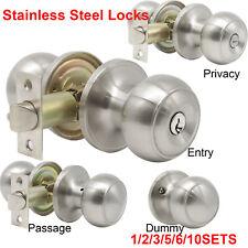 Privacy Door Handle Lock Knobs Set Bathroom Hall Passage Dummy Entrance Nickel
