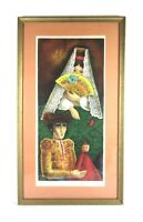 Vintage Mid Century Modern Art Spanish Matador Lithograph Print Signed Solé