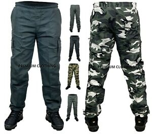 Mens Thermal Fleece LINED Elasticated TROUSERS Cargo Combat Work Pants Bottoms <