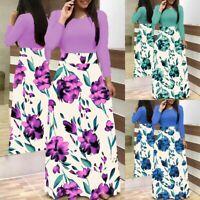 Women Summer Maxi Floral Long Dresses Fashion Long Sleeve Party Dress Plus Size