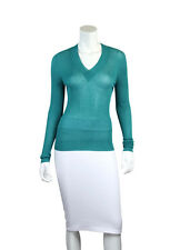 Yves Saint Laurent Teal Long Sleeve V-Neck Ribbed Knit Pullover Sweater - Size L