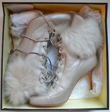 NIB $348 Ann Taylor Fur Trim Lace-up Heel Booties Size 8