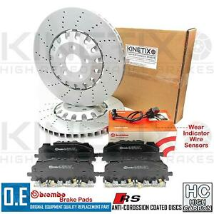 FOR AUDI RS4 RS5 FRONT CROSS DRILLED BRAKE DISCS BREMBO PADS WEAR SENSORS 375mm