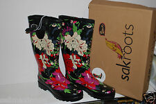NEW Fur-lined Sak Roots Rain Boots, black, pink and green floral print, size 8
