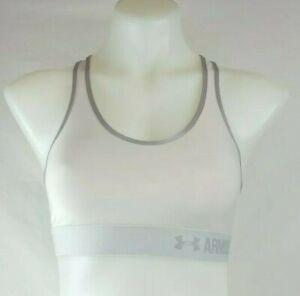Under Armour Heat Gear Compression Cream & Silver Trim Sports Bra Women's Small