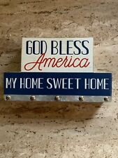 Home Sweet Home,God Bless America,Wall Plaque Red White & Blue Wall Decor NWT