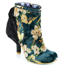 Irregular Choice ''Royal Velvet'' Stiletto Heel Zip Up Ankle Boots Shoes