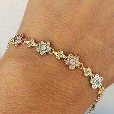 Womans solid 14k rose white and yellow gold flower bracelet 7 inches long