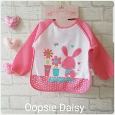 Baby Girls Pink Bunnys ROCK A BYE BABY BRAND Long Sleeve Coverall Bib ☆