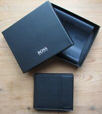 Hugo BOSS Men's Black Leather Wallet 'Traveller 4 cc Coin' Bifold Style 50311783
