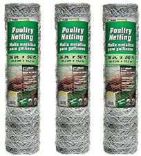"""(3) rolls 308475B 36"""" x 50'  2"""" Mesh Poultry Netting Chicken Wire Fence Fencing"""