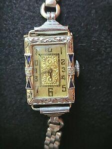 Antique BELAIS 18K White Gold Platinum Sapphire & Diamond RECORD WATCH CO Watch