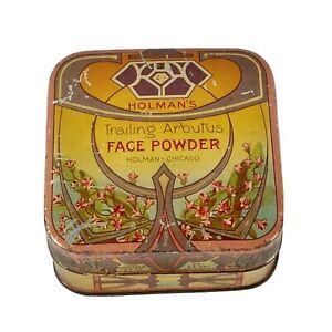 Holmans Trailing Arbutus Face Powder Antique Vintage Square Tin Trinket Box