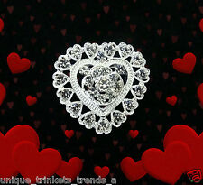 Day Gift For Her Mom Rhinestone Heart Silver Brooch Pin~Mothers