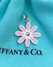 Tiffany & Co. 925 Sterling Silver Pink Enamel Daisy Flower Charm with Pouch