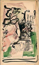 "ALBERT URBAN Original 1945 Watercolor Painting ""Abstract Composition"" Eames Era"